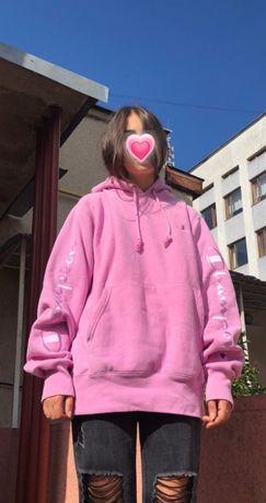 Худи розовое champion original oversize unisex