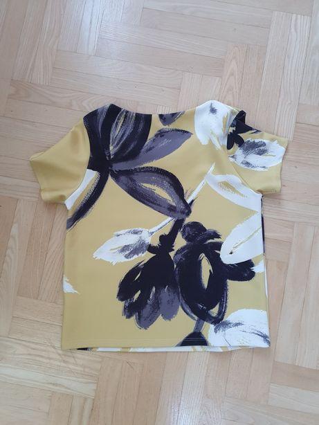 Cudowna bluzka musztardowa w kwiaty vintage r. S