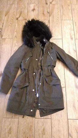 Nowa kurtka parka płaszcz New Look 36 s m 38 zielona rozkloszowany
