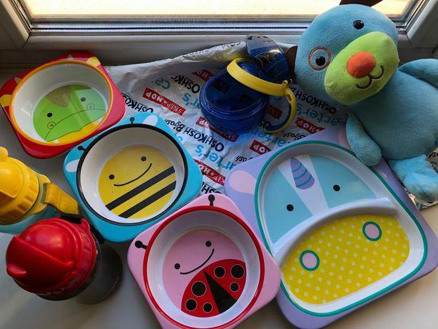 Skip Hop тарелка глубокая и мелкая, поильник, игрушка, контейнер снеки