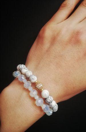 Komplet bransoletek z kamieni naturalnych agat i opal handmade prezent