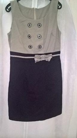 Krótka szaro czarna sukienka z kokardką rozm M
