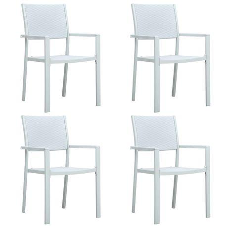 vidaXL Cadeiras jardim 4 pcs plástico branco aspeto vime 47888