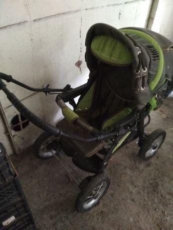 Коляска детская трансформер + сумка, дождевик, в колесах камеры целые