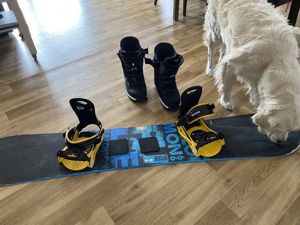Deska snowboard salomon wiązania BURTON buty WED'ZE