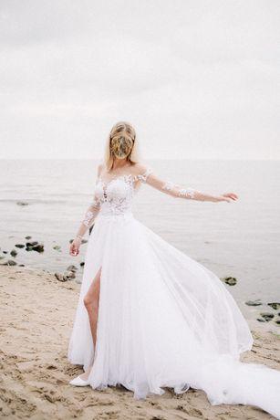 Koronkowa suknia sukienka ślubna 36/38 długa tiul 2021 tren