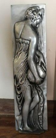 Estatueta de parede, quadro, vintage, mulher, decoração, antiguidades