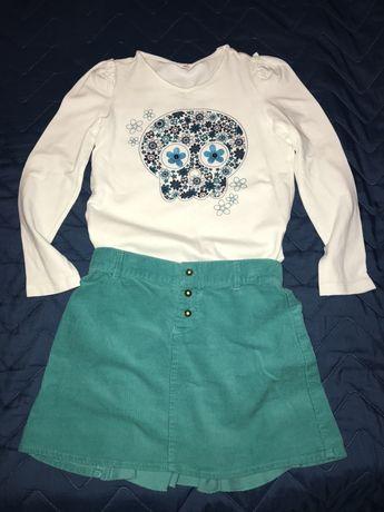 Нарядный комплект на девочку 128 р: юбка вельветовая и реглан
