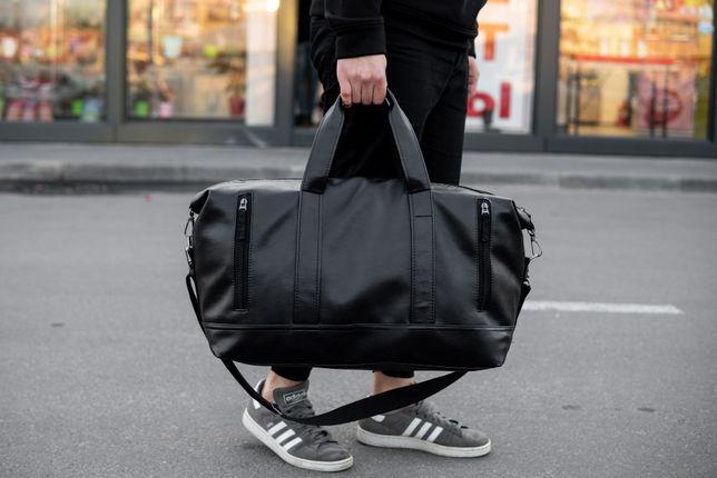 Кожаная дорожная сумка CROSSROAD черная мужская ручная кладь