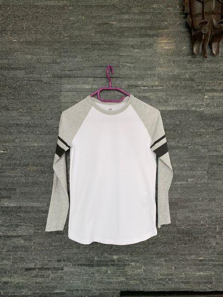r. 134 cm / H&M cienka bawełniana bluzka na długi rękaw ORGANIC COTTON