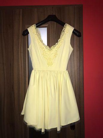 Sukienka Lou Fiorra S żółta wesele chrzest sylwester impreza
