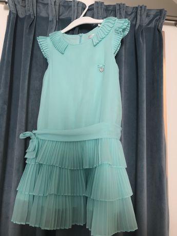 Sliczna mietowa sukienka Mayoral r122 bolerko do kompletu