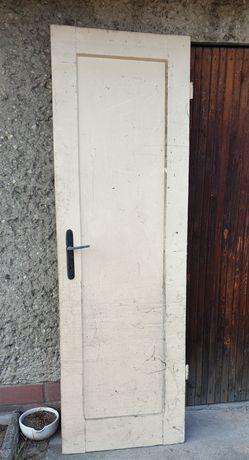 Stare drewniane drzwi wąskie do renowacji, lewe 200x65cm zabytkowe