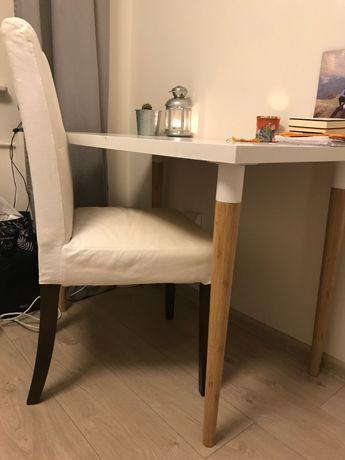 IKEA biurko, bambusowe nóżki biały blat