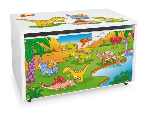 Duża drewniana skrzynia na zabawki XXL na kółkach Motyw: Dino
