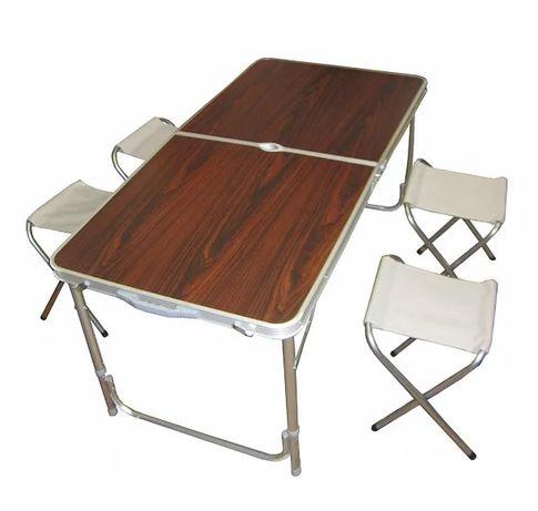 Столик раскладной для пикника, кемпинга/туризма/сада, 4 стула. чемодан