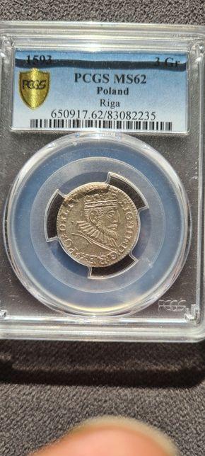 Trojak 1593 ryga ms62 moneta pcgs