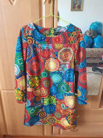 Платье платя мозаика короткое мини яркое