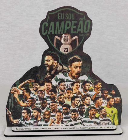 Placa comemoração Sporting Campeão com texto personalizado