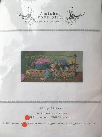 Набор для вышивки Amishop Kitty Litter
