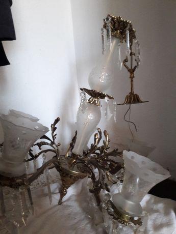 Candeeiro em bronze e cristal 1950