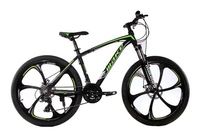 """Алюминиевый велосипед на литых дисках МАКЕ 26"""" рама 17"""" черно-зеленый"""