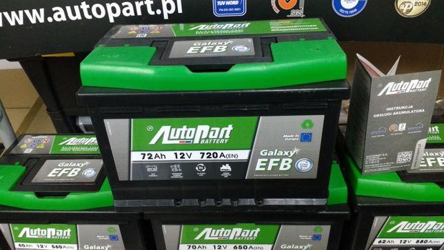 Akumulator AutoPart Galaxy Start Stop EFB 72Ah 720A E45 P+ CL700 N70
