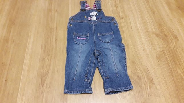 Spodnie H&M Snoopy, jeansy, ogrodniczki. Roz 62/68