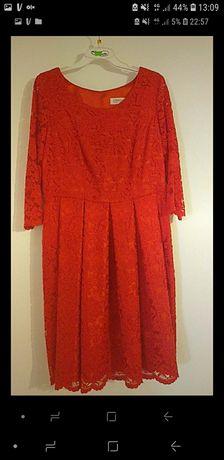 Czerwona  koronkowa sukienka na atlasowej podszewce 44+ gratis (wesele