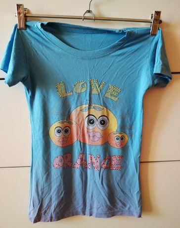 Цветная футболка на девочку девчачья love orange