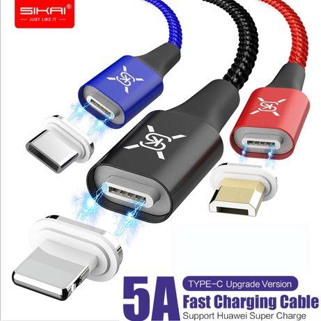 Cabo Magnético 5A + Plug USB Type C/Micro USB/Iphone (PORTES GRÁTIS)