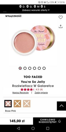 Rozswietlacz too faced Pink rose