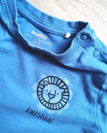 Lupilu r. 86/92 niebieska granatowa koszulka z długim rękawem lew