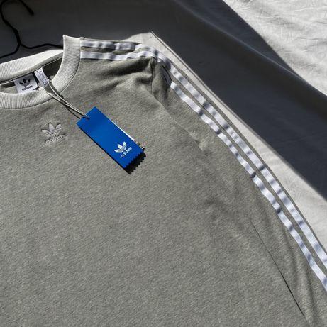 Базовый стильний серый лонгслив Adidas