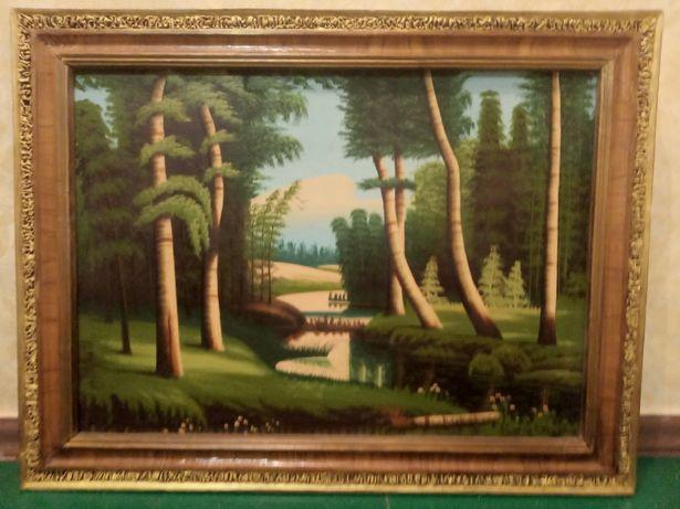 Картина масляная на полотне. Пейзаж леса. Рамка деревянная.