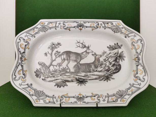 """Travessa em porcelana Vista Alegre (veados) - """"Du Paquier Platter"""""""