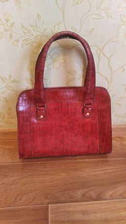 сумка женская кожа красная