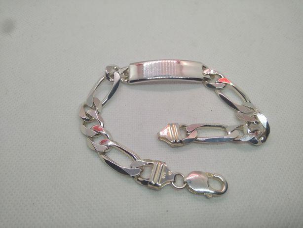 Nowa bransoletka męska figaro z blachą srebro 925 47.9g