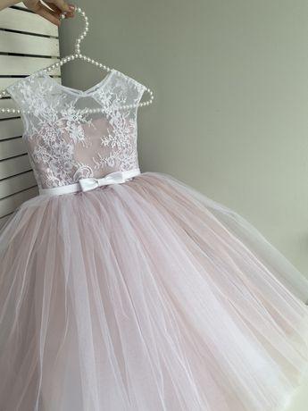 Нарядное пышное пудровое платье на выпускной 116 6 лет