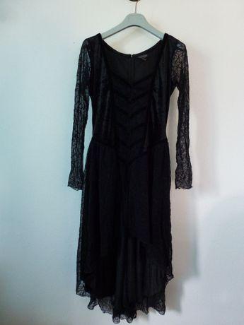 Vestido em veludo preto e renda teia de aranha da Sinister - gótico