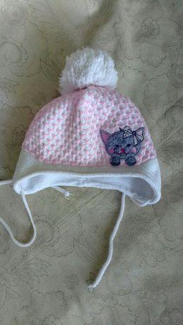 Зимняя шапка на девочку 1-1.5 года