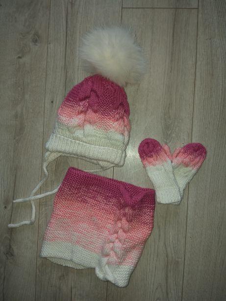 Шапка шапочка набор хомут зимняя на девочку вязаная ручная работа