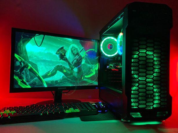 Игровой компьютер пк с монитором + АМД 6 ЯДЕР + 4 ГБ ВИДЕОКАРТА