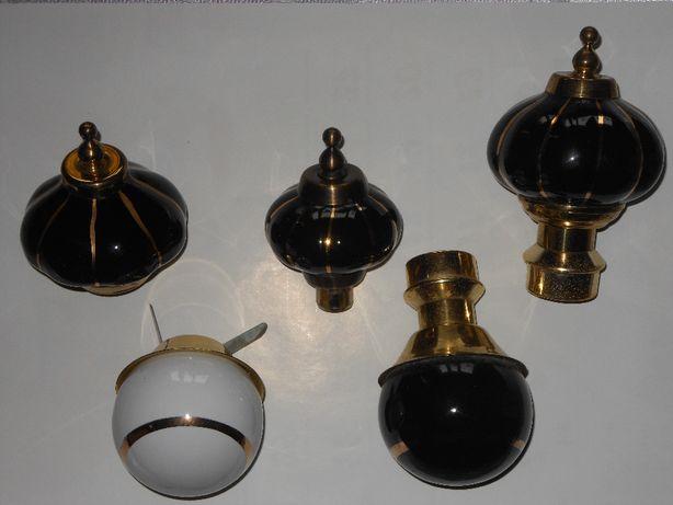 Końcówki porcelanowe do karniszy mosiężnych