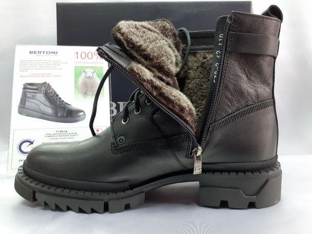 Зимние кожаные ботинки-берцы на молнии Bertoni 40,42,43,43,45р