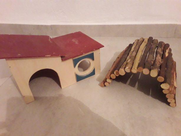 2szt Domek domki tunel dla świnki morskiej chomika drewniane nowe
