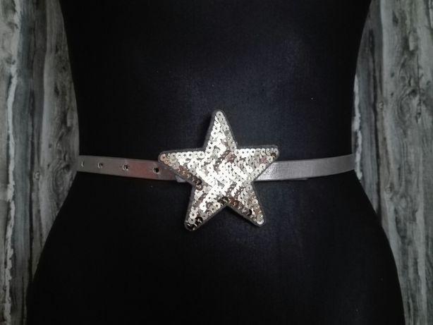 Pasek dla dziewczynki gwiazda złota gwiazdka srebny