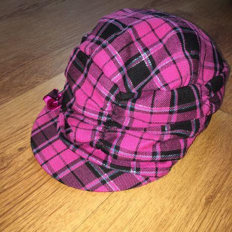 Czapka z daszkiem różowa czarna karatka dla dziewczynki