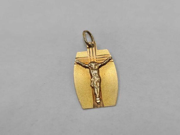 Ciekawy złoty krzyżyk / wisiorek/ męski / damski/ 585/ 0.97 gram