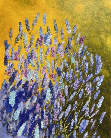 Лавандовое поле цветы картина маслом